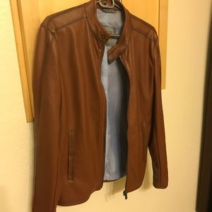 Zara Medium Light Brown Perforated Leather Jacket